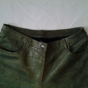 Leather Jeans Dark Green Reptile Print size 6